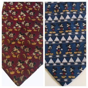 Mickey Mouse Disney Tie Bundle of Two Red Blue